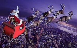 Santa Claus and sleigh
